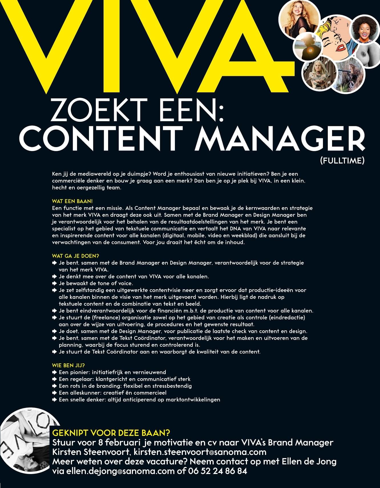 vacature content manager VIVA 2