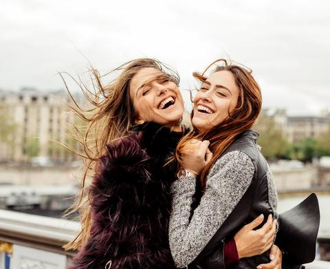 Happy girls on a vacation in Paris