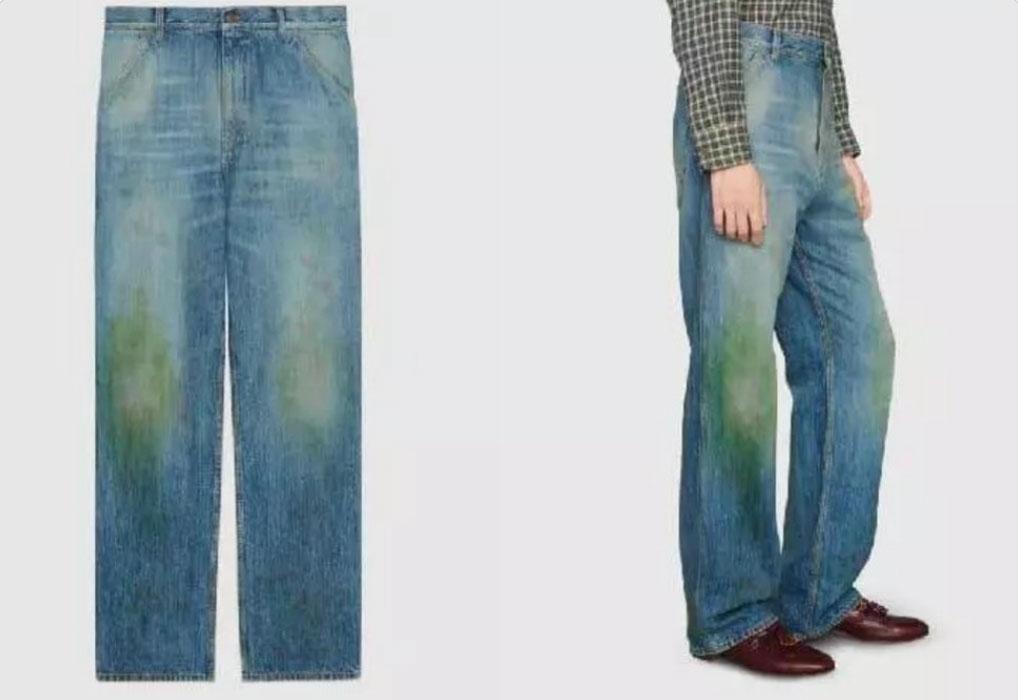 jeans met grasvlekken